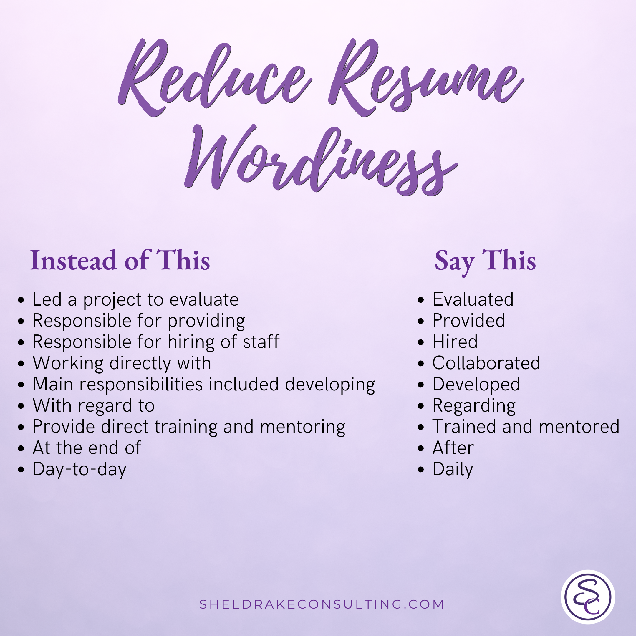 Reduce Resume Wordiness